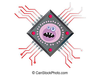 Computer Chip Powered by  Virus Technology  Illustration in Vector