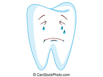 Crying Tooth Cartoon Character Illustration in Vector