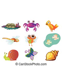 Assorted Cute Animal Illustration in Vector - Assorted Cute...