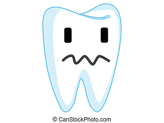 Dazed Tooth Cartoon Character Illustration in Vector