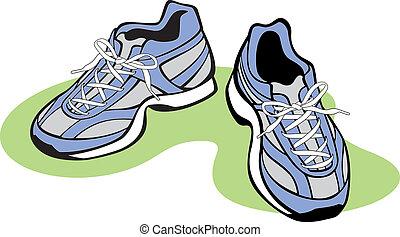 par, atlético, sapatos