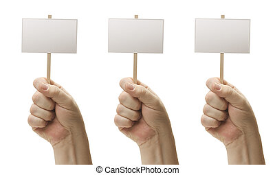 Three Blank Signs In Fist