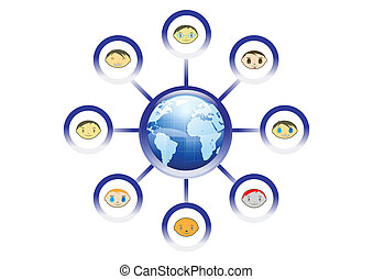 Global Friends Network Illustration in Vector