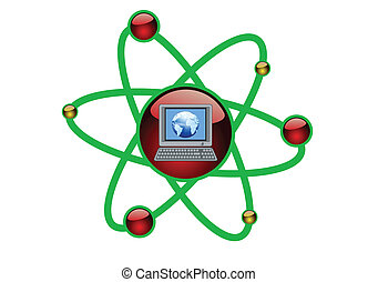 Computer Green Technology in an Atomic Cell Concept Illustration in Vector