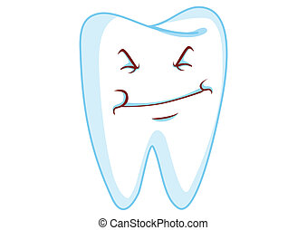 Grin Tooth Cartoon Character Illustration in Vector