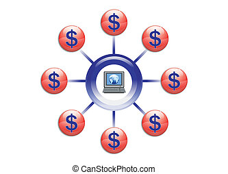 Global Wealth with Online Marketing Illustration in Vector