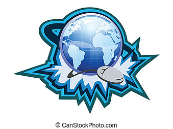 Internet Symbol Button Illustration in Vector