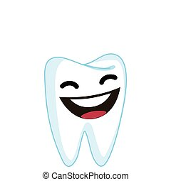 Laughing Tooth Cartoon Character Illustration in Vector
