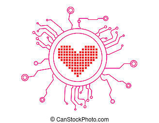 Love Icon Circuit Illustration in Vector