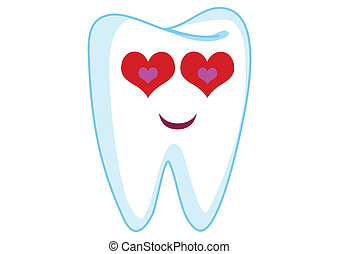 Loving Tooth Cartoon Character Illustration in Vector