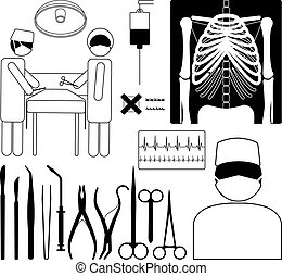 Medical icon set - Surgery medical icon set, black on white...