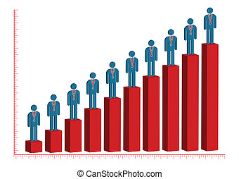 Male Doctor Rise Bar Chart  Illustration in Vector