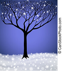 Winter Tree - Tree with the lights in winter landscape
