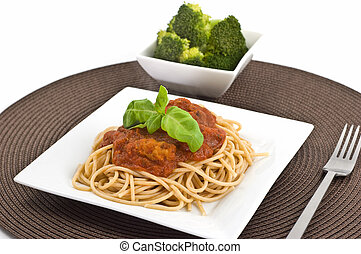 Spaghetti Bolognaise on whole wheat pasta with a side of...