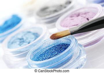 Eye shadows close-up - Set of powder eye shadows in jars and...