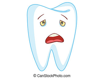 Sad Tooth Cartoon Character Illustration in Vector