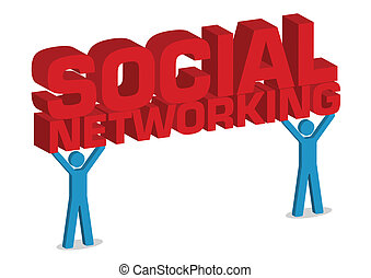 Social Networking 3D Illustration With Human Icon in Vector