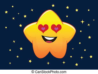 Loving Star Cartoon Character Illustration in Vector