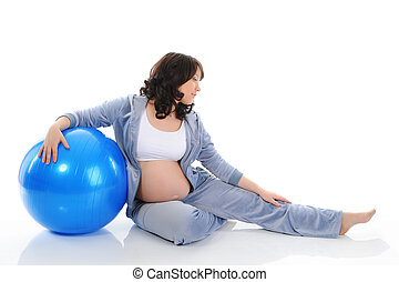 Beautiful pregnant woman sitting with exercise bal Isolated...