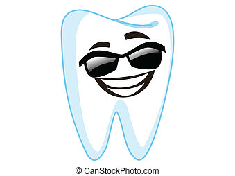 Sunglass Tooth Cartoon Character Illustration in Vector