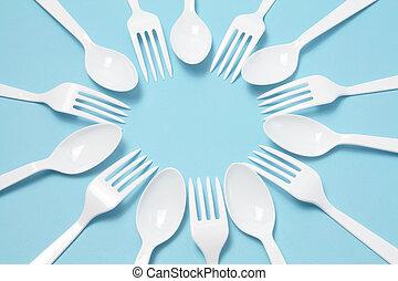 plástico, tenedores, Cuchillos
