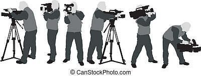 cameramans silhouettes - the grey silhouttes of cameraman...
