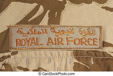 Royal AIr Force Patch on Desert Camouflage Jacket - Royal...