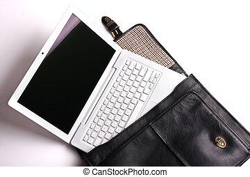 Laptop in brief-case.