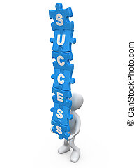 Success - Person balancing jigsaw puzzle pieces with the...
