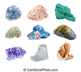 Minerals - Mineral collection isolated on a white background