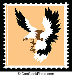 vector silhouette of the ravenous bird on postage stamps