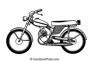 vector silhouette moped on white background