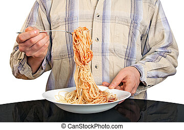 Human hands with fork and spaghetti - Isolated human hands...