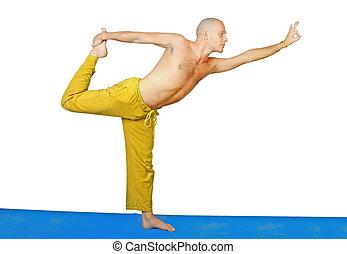 Yoga. Man in natarja asana position