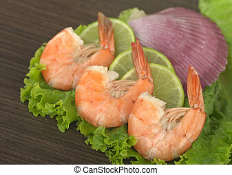 Cooked King Prawn - Appetizer: King prawn on lime, lettuce...