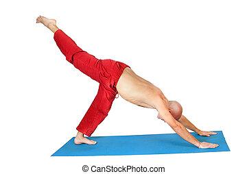 Yoga. Man doing exercises, isolated on white