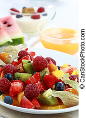 Fresh fruit salad - Delicious fresh fruit salad served in...