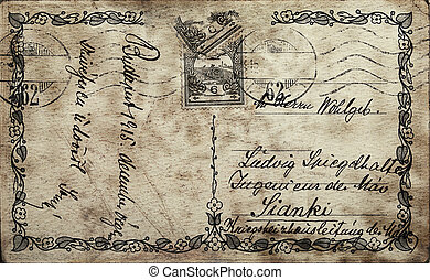 Vintage postcard with written text