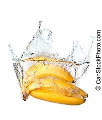 ramo, plátanos, agua, salpicadura, aislado, blanco