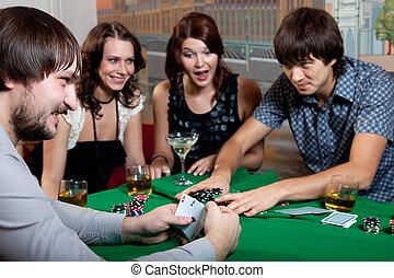 Joyful poker with two aces.