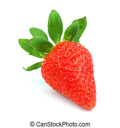 one strawberry isolated on white