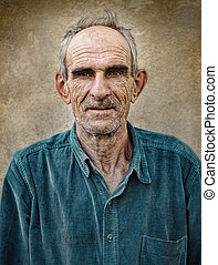 Artistic old photo of elderly bald man, grunge vintage...