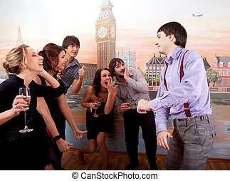 Cocktail party. Young people having fun.