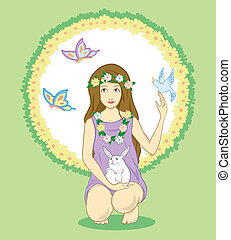 nature girl - girl wearing flowers and playing with the...