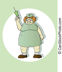 scary nurse - funny cartoon nurse holding a syringe