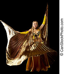 Blond woman dance with gold wing - Beauty blond mature woman...