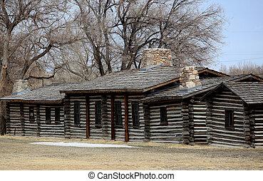 Log house.