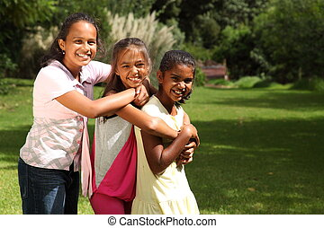 Girls happy laughter and hugs