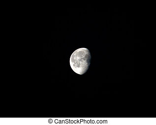 Half moon on dark background