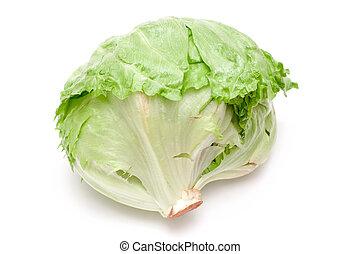 iceberg lettuce - green iceberg lettuce over a white...